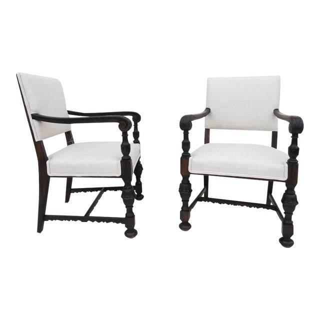 Image of 1930's Carved Wood Chairs - A Pair