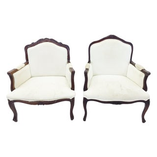 Vintage French Bergère Style Arm Chairs - Pair