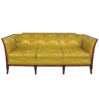 1940s Empire Three-Seat Sofa in Gold Damask and Carved Walnut