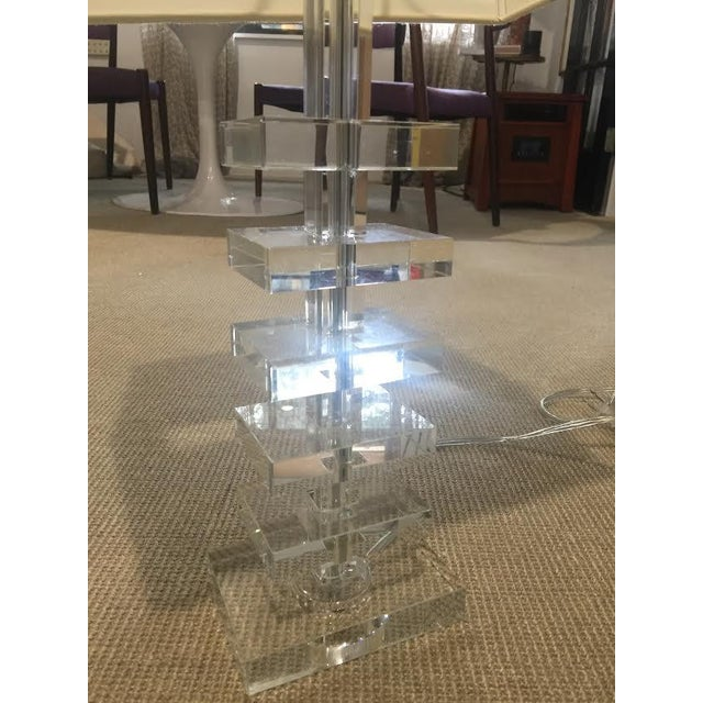 Glass Square Column Table Lamps - A Pair - Image 5 of 8