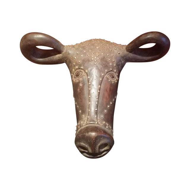 African Buffalo Head Artwork Mask - Image 1 of 4