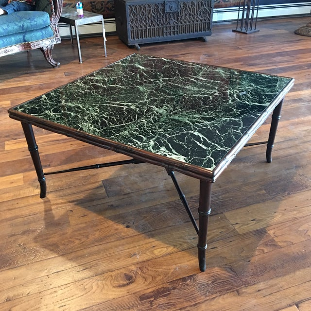Mid-Century Regency Faux Bamboo Marbled Table - Image 6 of 8