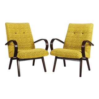 Mid-Century Czech Upholstered Chairs, 1960s - A Pair
