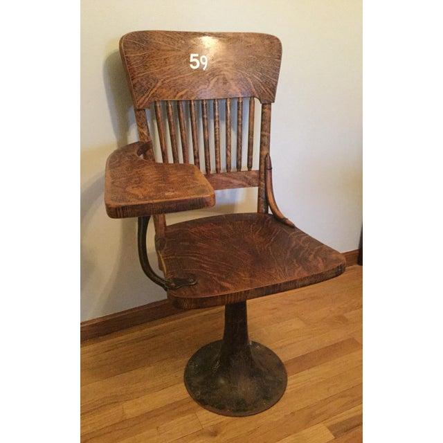 Antique Quarter Sawn Oak University Lecture Hall Chair - Metal Pedestal - Image 4 of 7