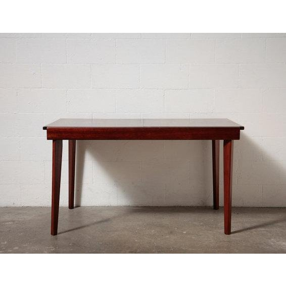 Mid-Century Rosewood Table With White Leaf - Image 8 of 8