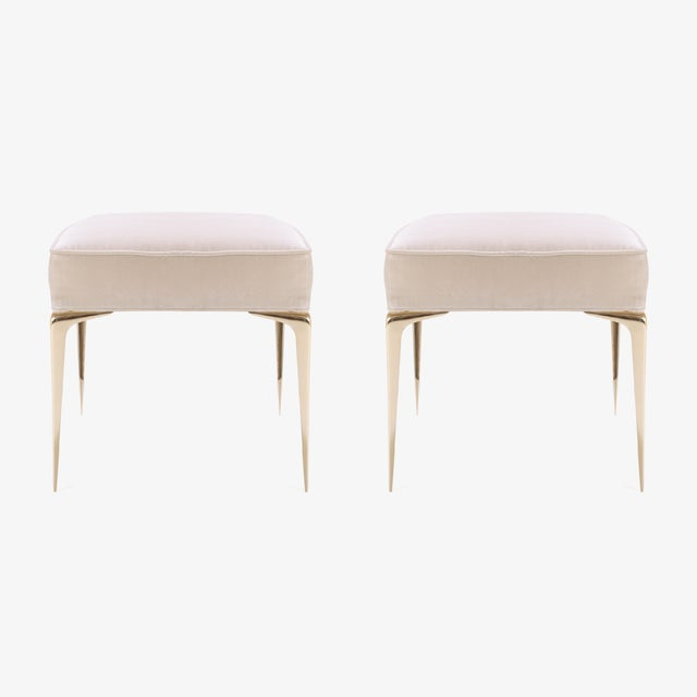 Customizable Colette Ottomans in Nude Velvet by Montage, Pair - Image 4 of 7