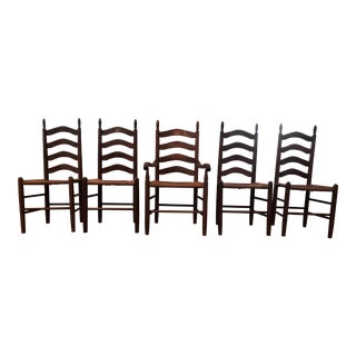 Vintage Ladder Back Chairs - Set of 5