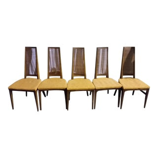 Lane Mid-Century Cane Danish Chairs - Set of 5