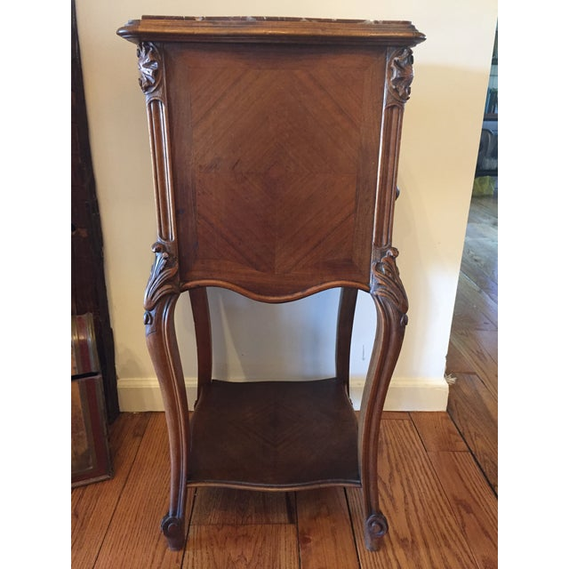 French Marble Top Walnut Nightstand - Image 3 of 7