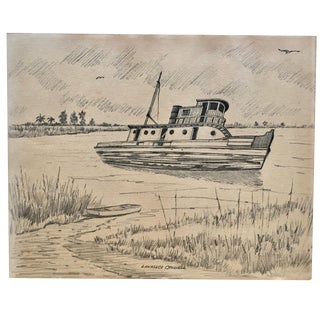 Pencil on Paper Vintage Fishing Boat Drawing