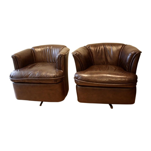 Collected Leather Barrel Back Chairs - A Pair - Image 1 of 8