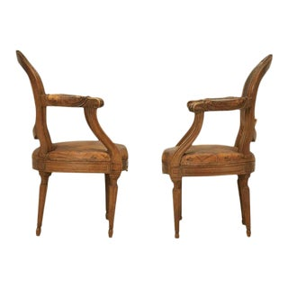 French Louis XVI Style Original Leather Armchairs - A Pair