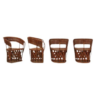 Circa 1970s Mexican Leather Equipale Chairs - Set of 4