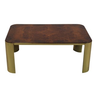 Mid-Century Modern Burl Wood & Brass Cocktail Table