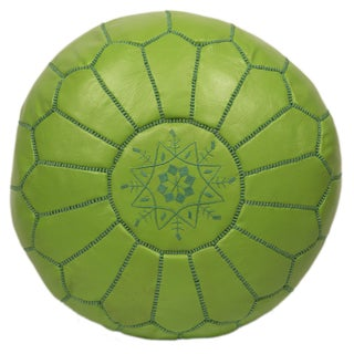 Embroidered Leather Pouf in Apple Green
