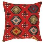 Image of Red Pasargad Decorative Vintage Kilim Pillow