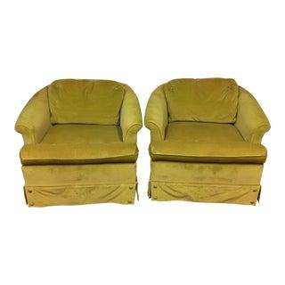 Mid-Century Velvet Club Chairs- A Pair