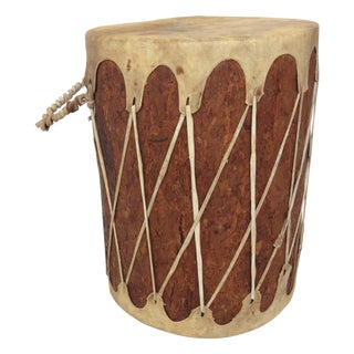Rawhide and Bark Drum Side Table