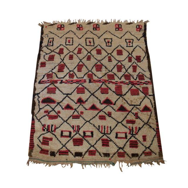 "Vintage Beni Ouarain Azilal Moroccan Carpet - 6'3"" X 4'9"" - Image 1 of 3"