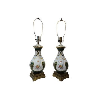 German Porcelain Lamps - Pair