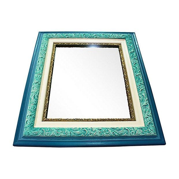 Antique Turquoise Painted Mirror in Chalk Paint - Image 3 of 4