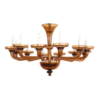 Large and Richly-Colored Murano Twelve-Light Amber Glass Chandelier