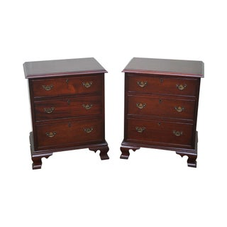 Craftique Solid Mahogany Chippendale Style Nightstands Chests - A Pair