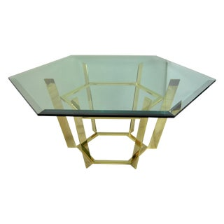 Modernist Hexagonal Brass & Glass Coffee Table