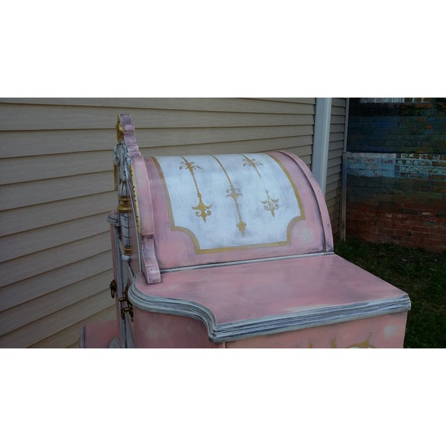Antiqued Pink & Gold French-Style Dresser - Image 7 of 11