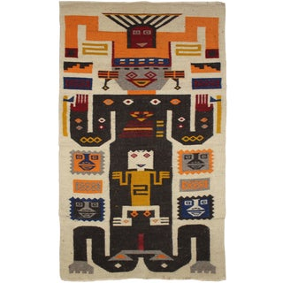 """Hand Knotted Mexican Kilim Rug - 3'9"""" X 2'2"""""""