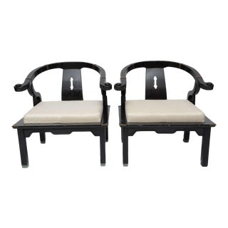 Chinoiserie Style James Mont Chairs with Dupioni Silk Cushions 1960