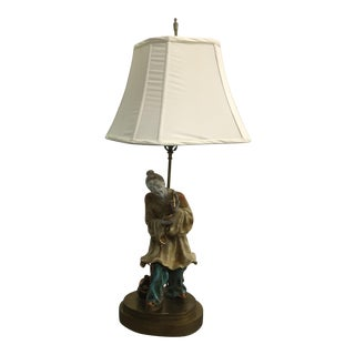 Chinese Figural Chinoiserie Brass Base Lamp
