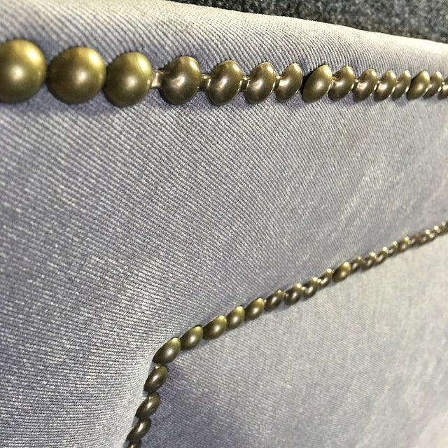 Queen Grey Upholstered Headboard, Nailhead Trim - Image 3 of 6