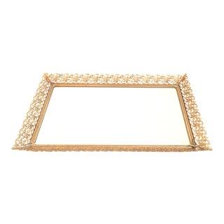 Brass Filigree Mirrored Tray