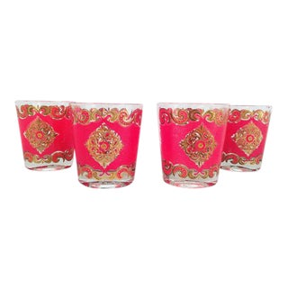 Mid-Century Red & Gold Cocktail Glasses - Set of 4