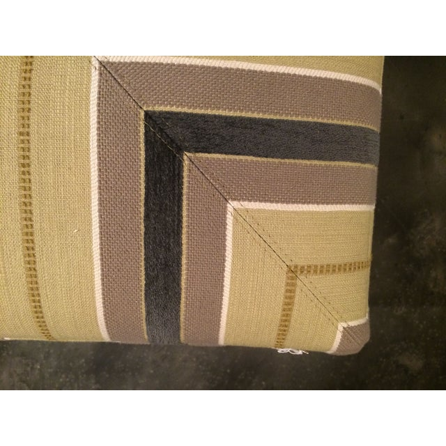 Pair of Upholstered Striped Cube Ottomans - Image 4 of 6