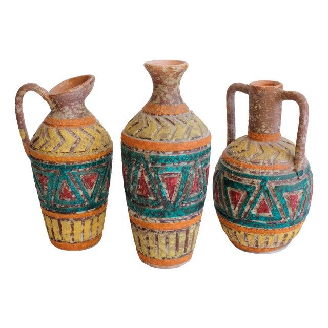 Image of Geometric Incised Italian Art Pottery - Set of 3