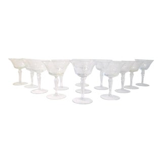 Mid-Century Floral & Grape Etched Cocktail Glasses - Set of 13