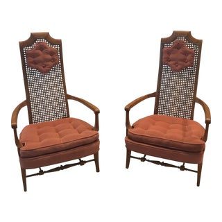 Mid-Century High Back Cane Chairs - A Pair