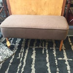 Image of Mid-Century Modern Style Brown Wool Bench