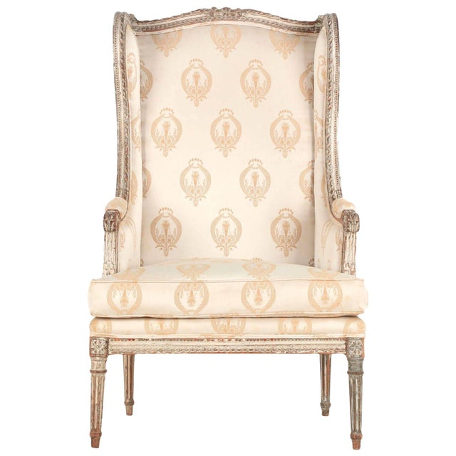 French Louis XVI Distressed Wingback Armchair - Image 2 of 11