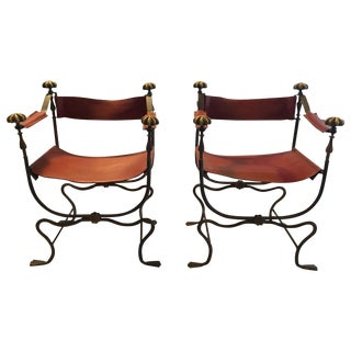 Spanish Iron and Brass Campaign Chairs - a Pair