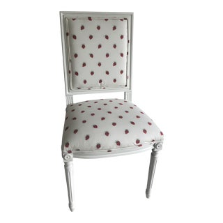 Gustavian Strawberry Silk Upholstered Side Chair