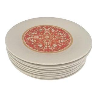 1970's Royal Doulton Orange Flower Dinner Plates S/9