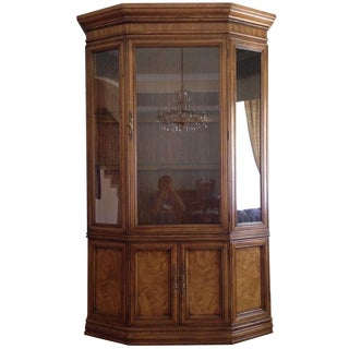 Vintage Burlwood Glass Front Display Cabinet