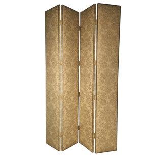New Hickory Chair 4 Panel Damask Screen Divider
