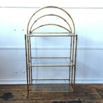 Image of Gold Faux Bamboo Three Tiered Shelf