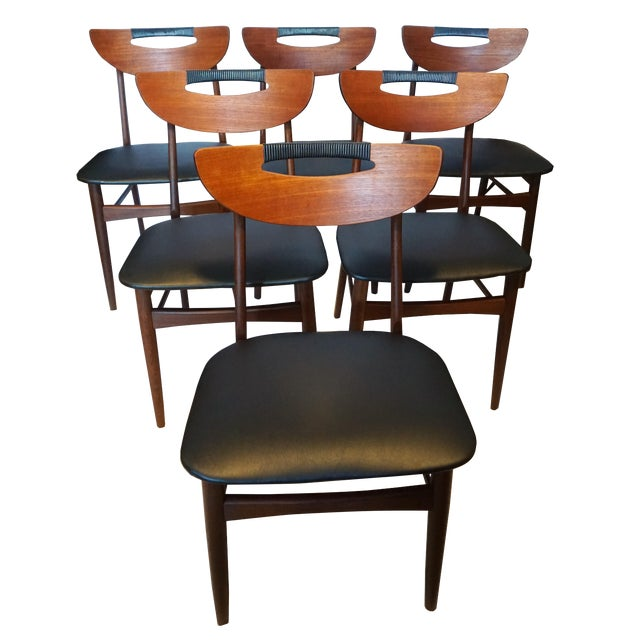 Mid-Century Modern Teak Dining Chairs - Set of 6 - Image 1 of 6