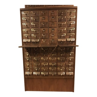 Vintage Hand Crafted 72-Drawer Card Catalog
