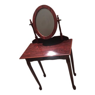 Vintage Cherry Wood Vanity Table